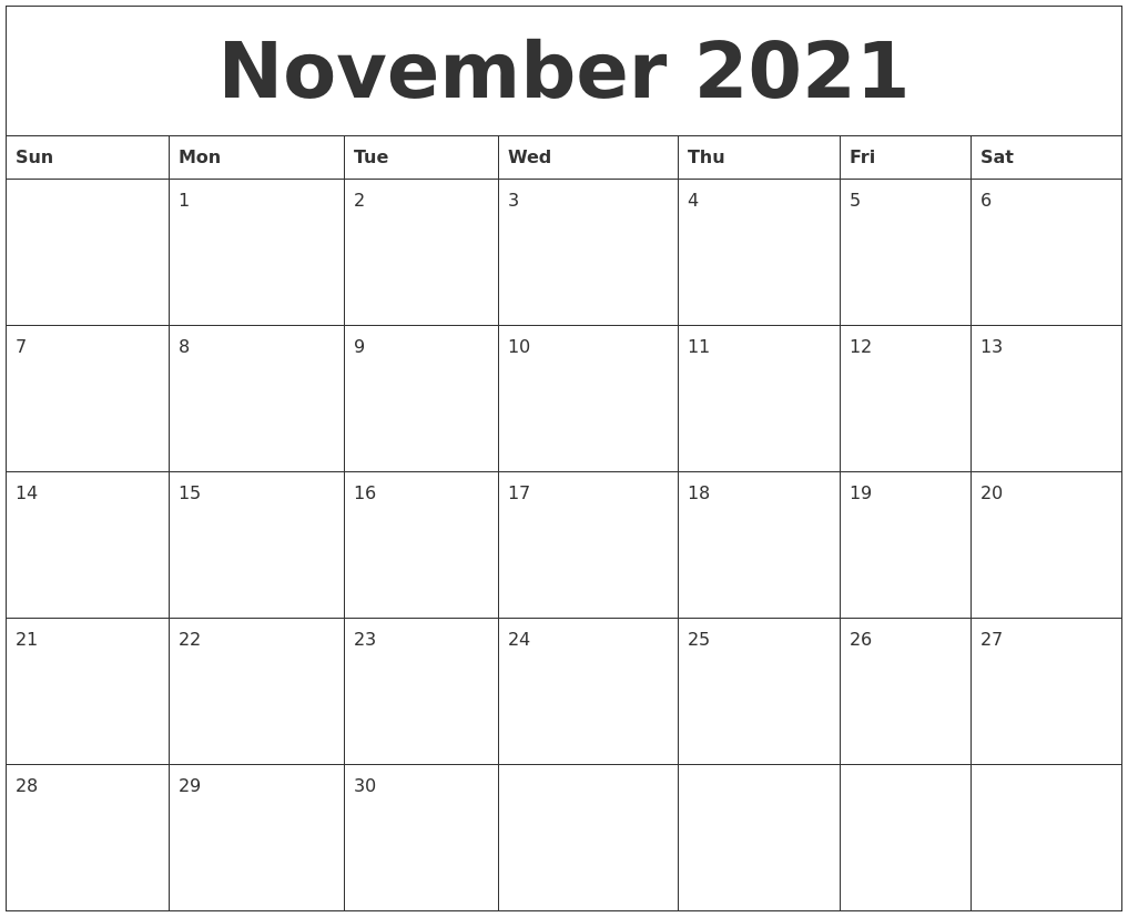 November Month Calendar 2021 Printable Images