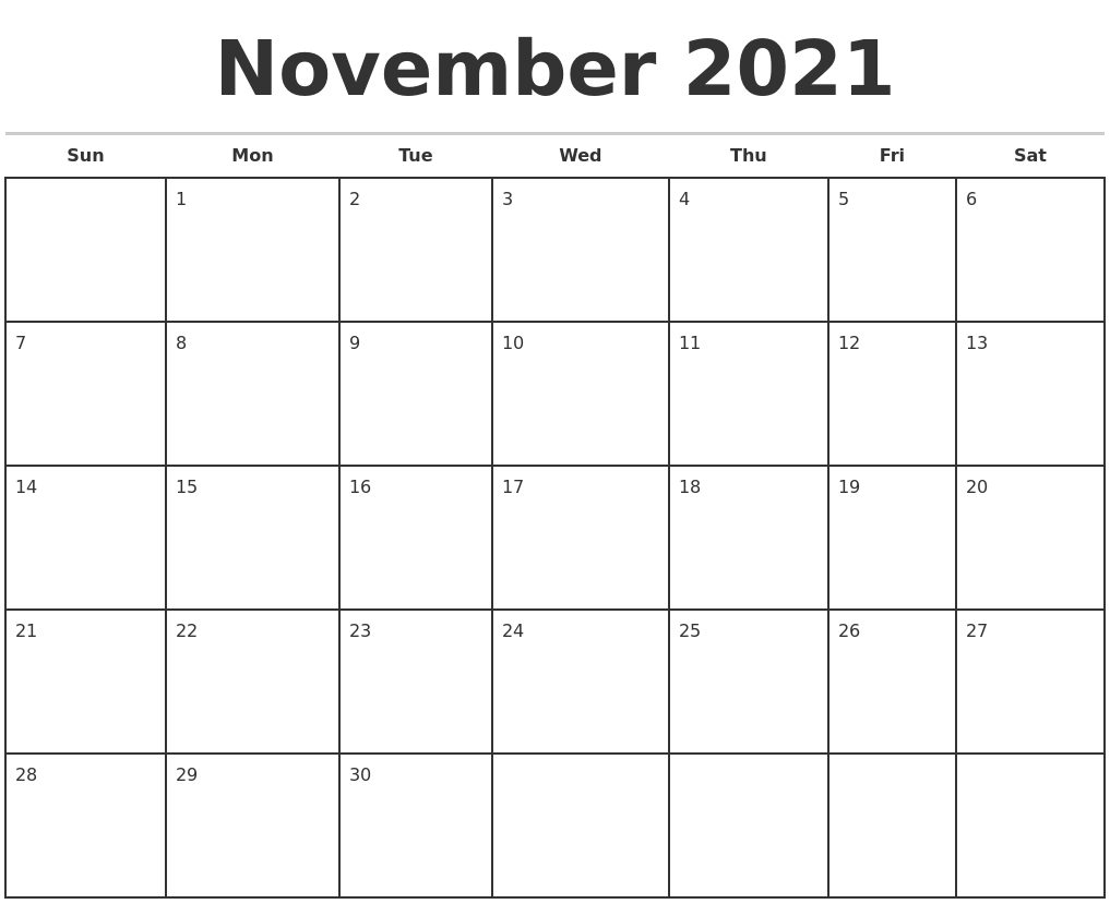November 2021 Monthly Calendar Template