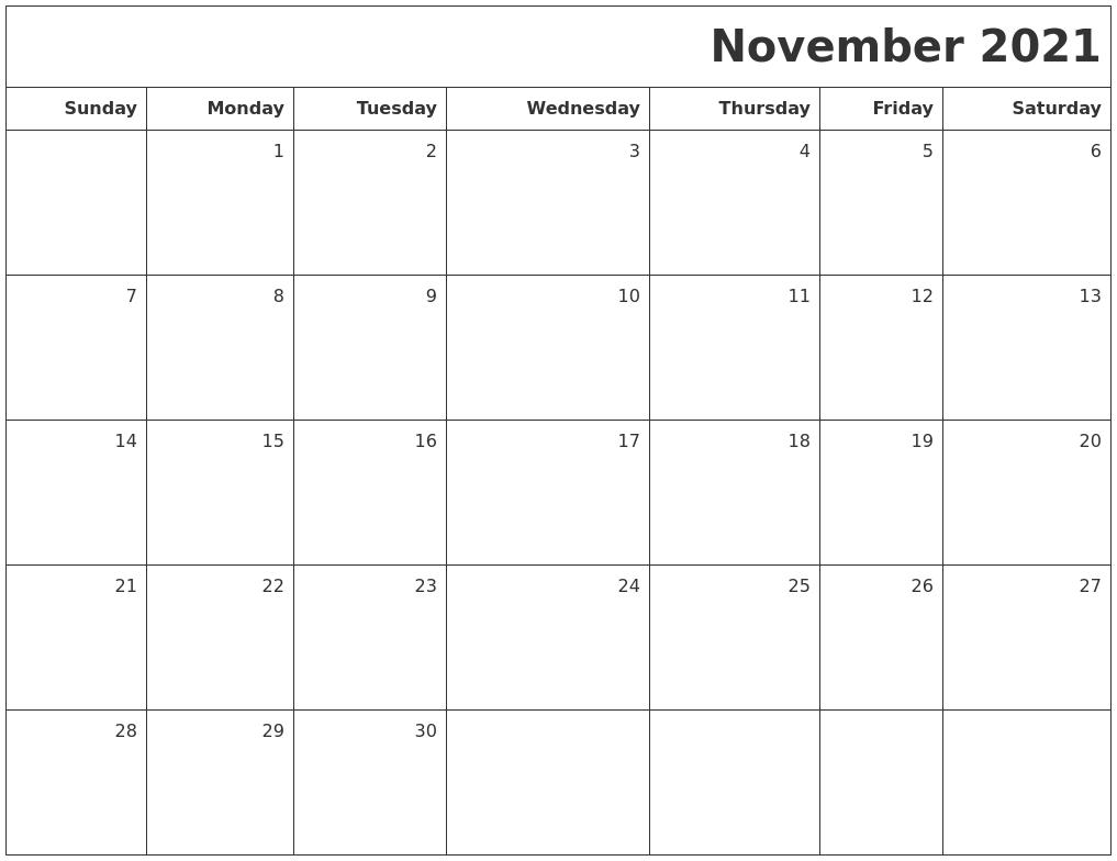 November 2021 Printable Blank Calendar