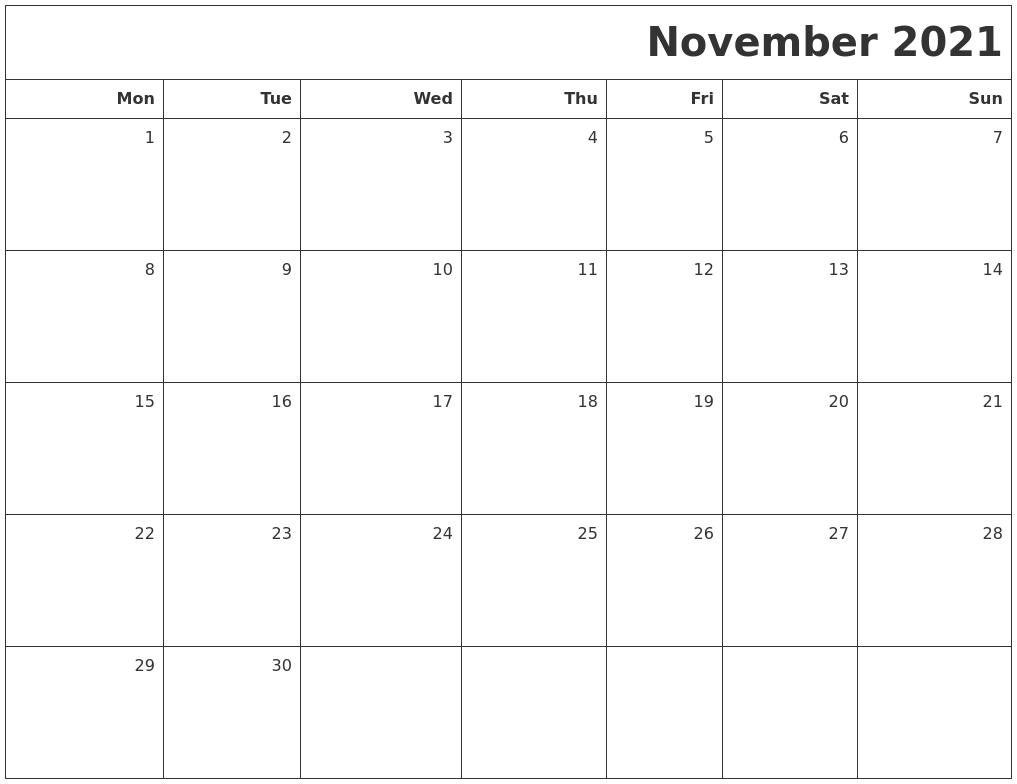 November 2021 Printable Blank Calendar PDF's
