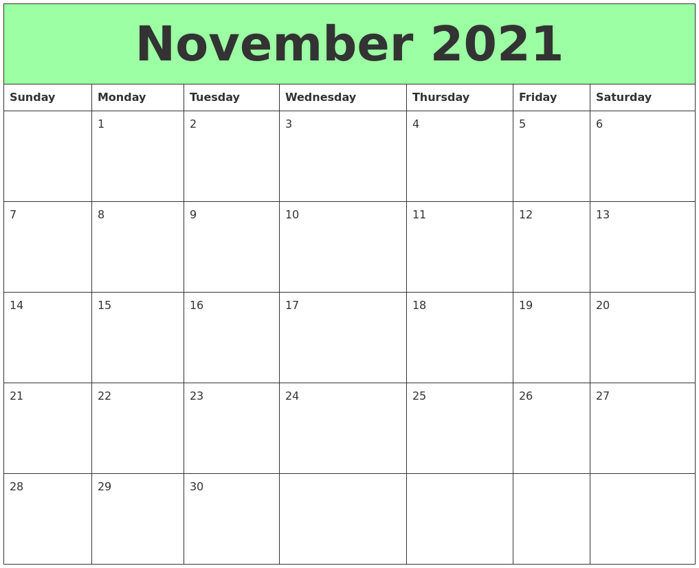 November 2021 Printable Calendars PDF's
