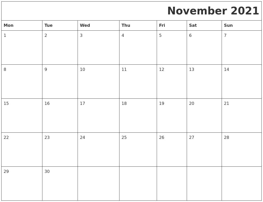 November 2021 Printable Calender