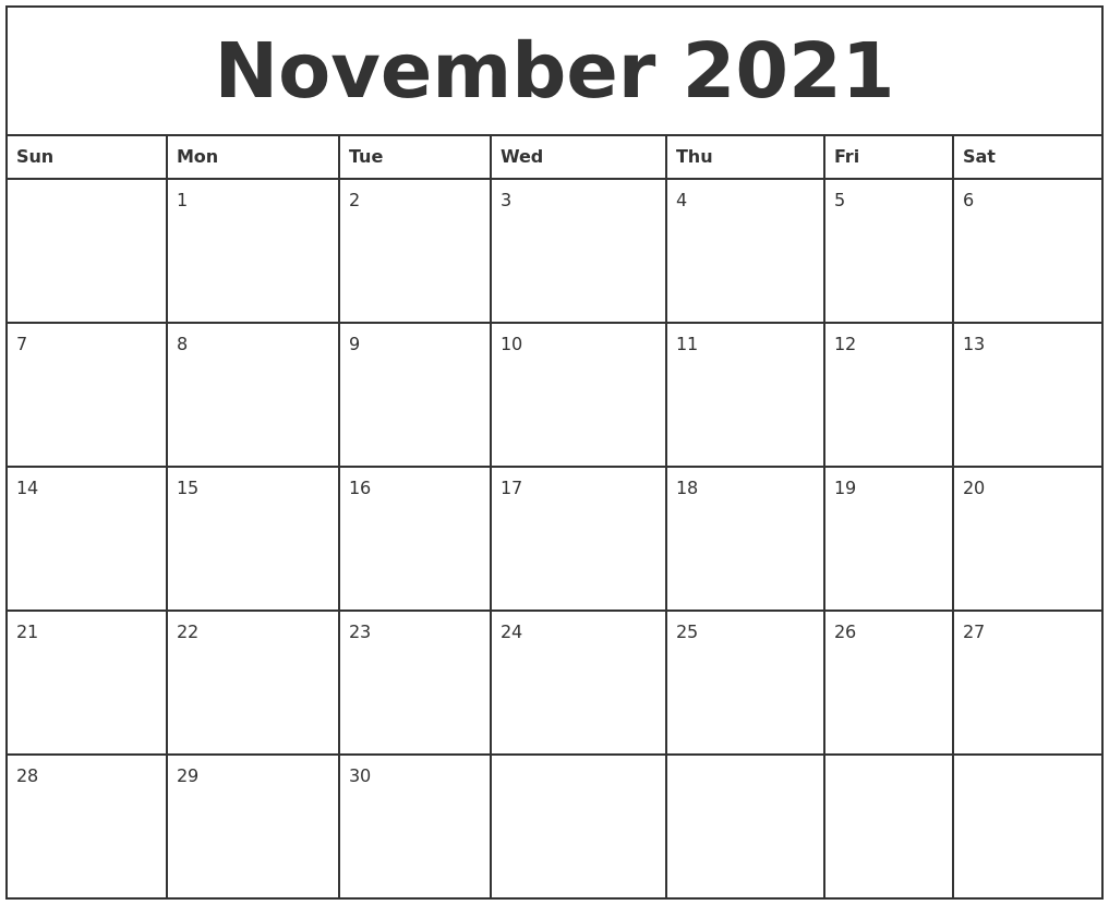 November 2021 Printable Monthly Calendar