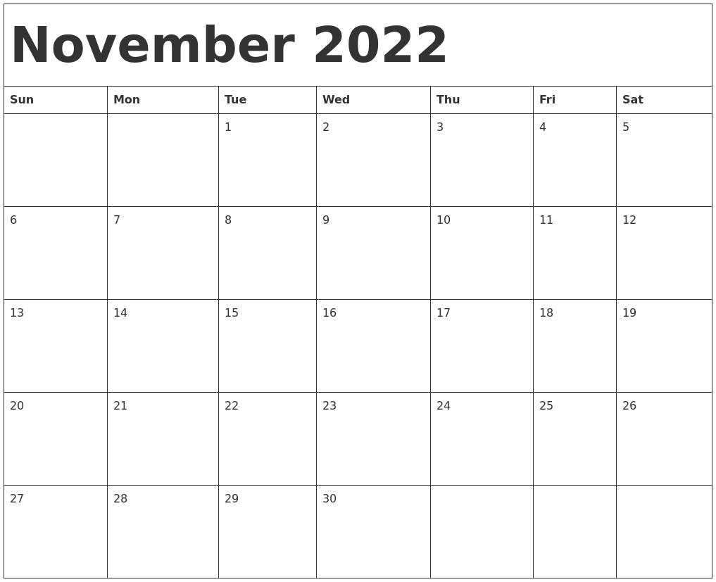 Nov 2022 Calendar With Holidays.November 2022 Calendar Template
