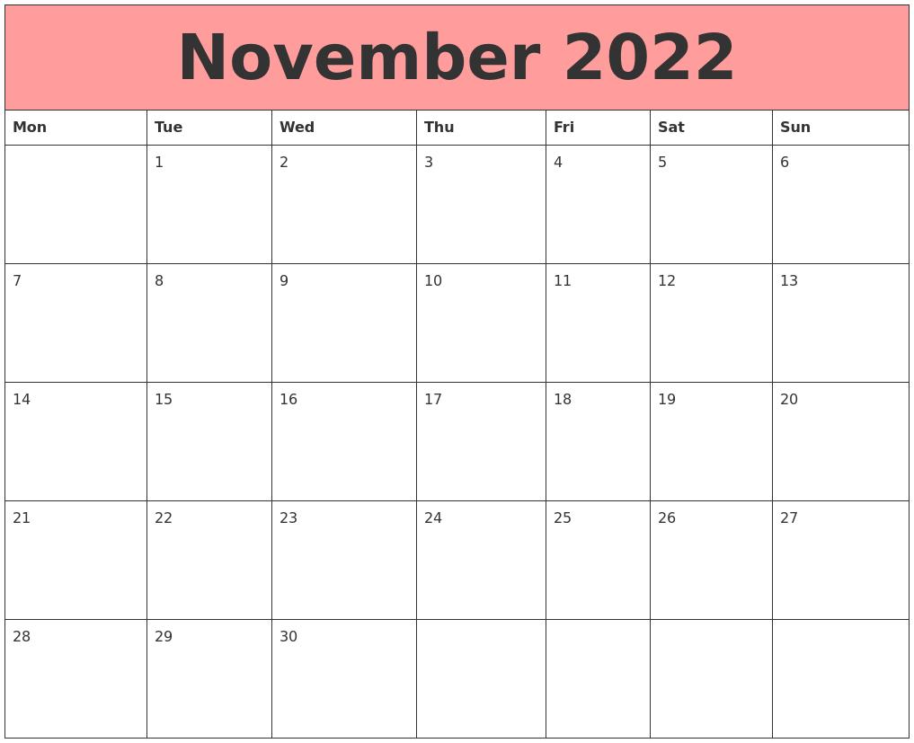 Calendar November 2022.November 2022 Calendars That Work