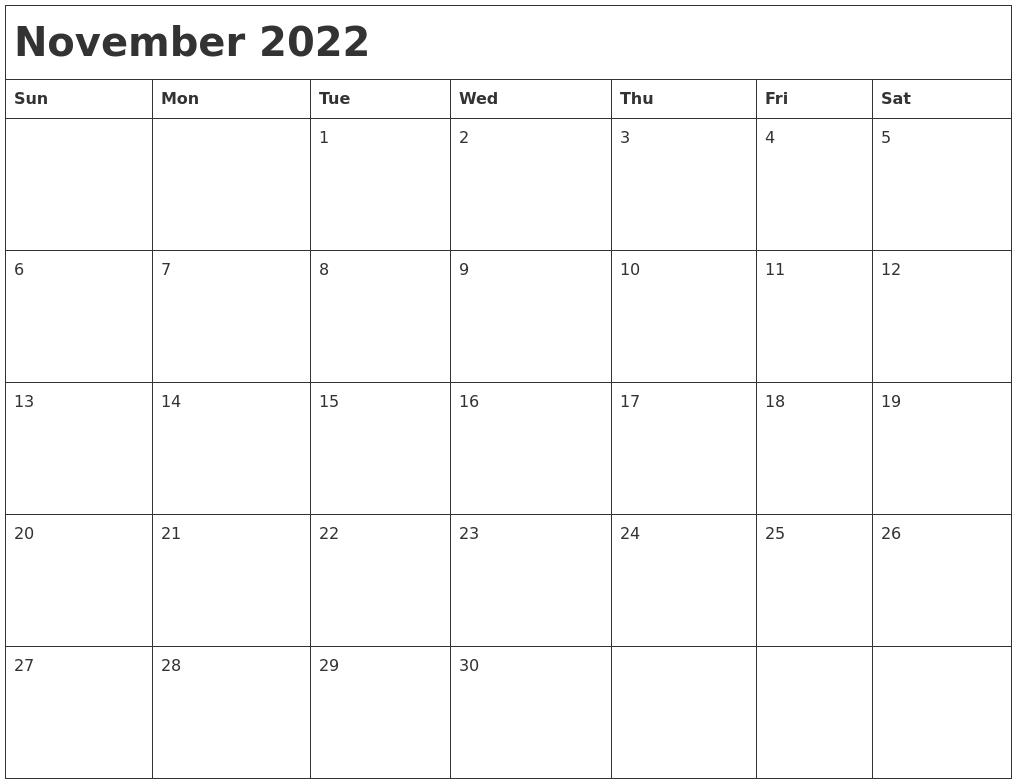 November 2022 Month Calendar
