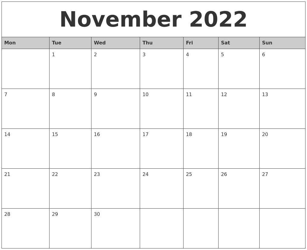 Monthly Calendar November 2022.November 2022 Monthly Calendar Printable