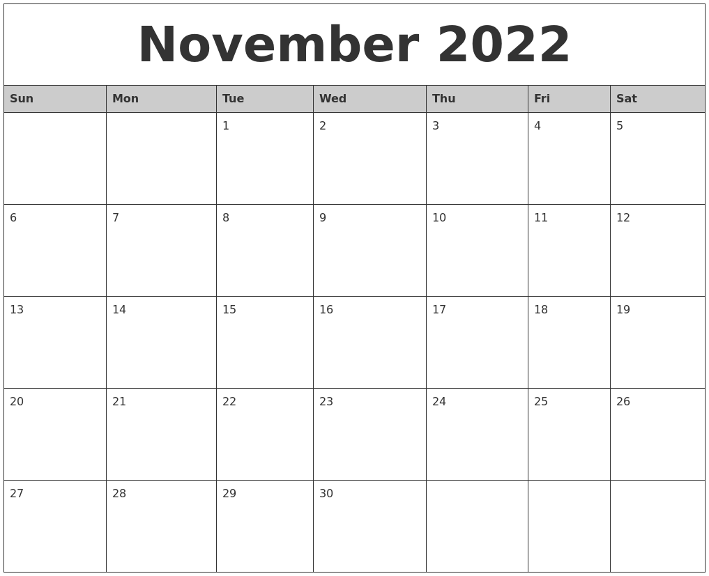 November 2022 Monthly Calendar Printable