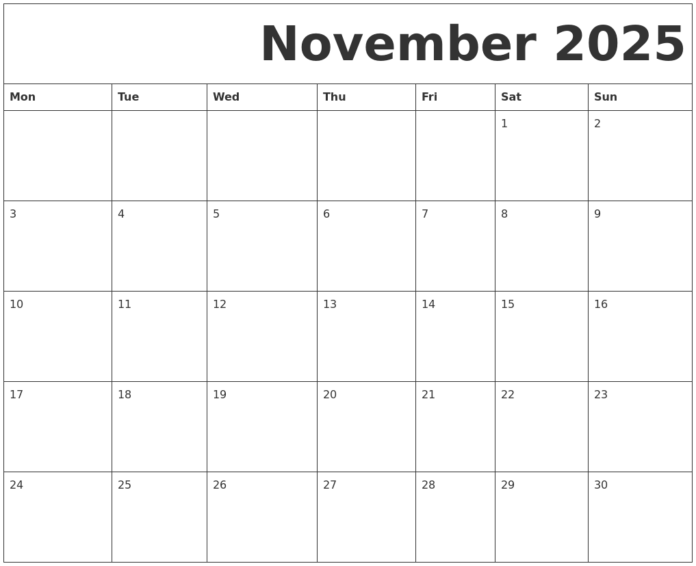 graphic relating to Free Printable Calendar November titled November 2025 No cost Printable Calendar
