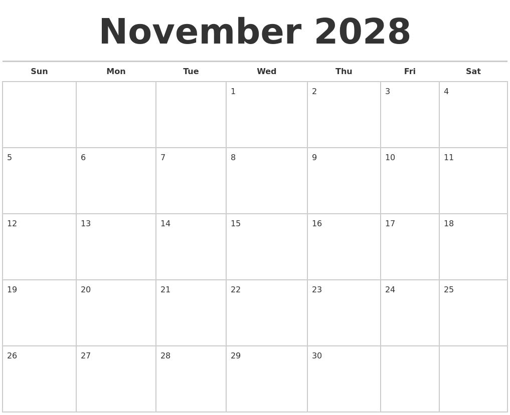 August 2028 Print Free Calendar