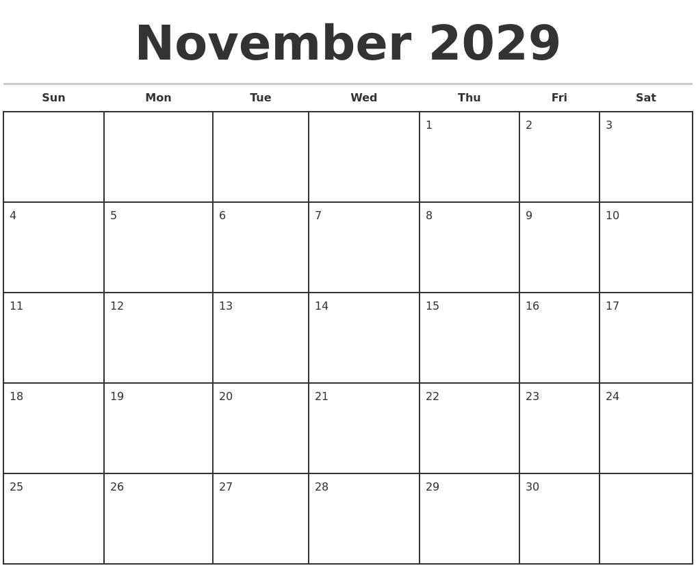 November 2029 Monthly Calendar Template