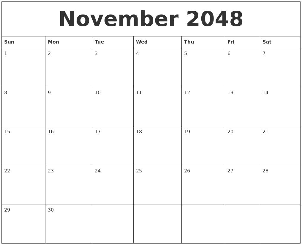December 2048 Calendar Templates Free