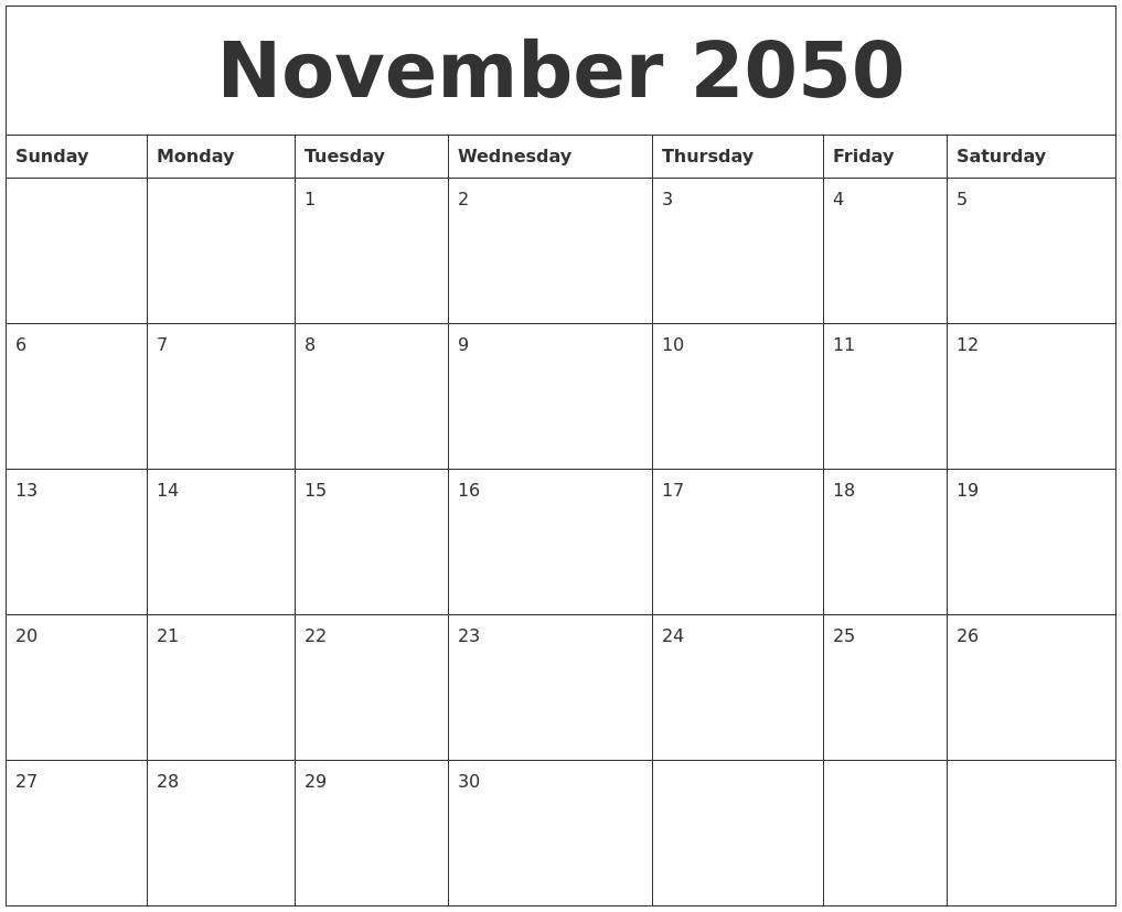 November 2050 Blank Printable Calendars