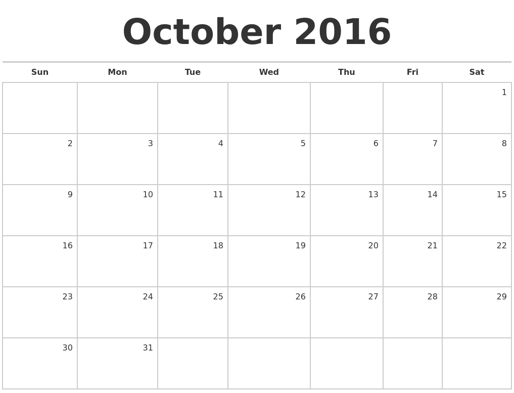 October 2016 Blank Monthly Calendar