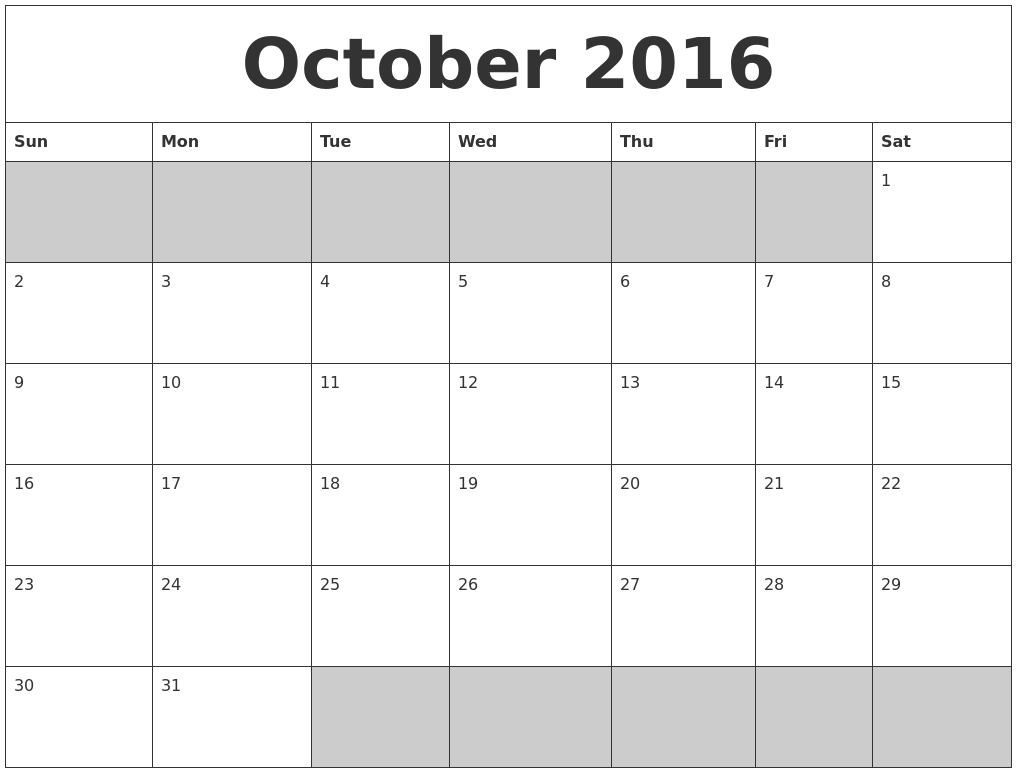 Blank Calendar October 2016 : March monthly calendar printable
