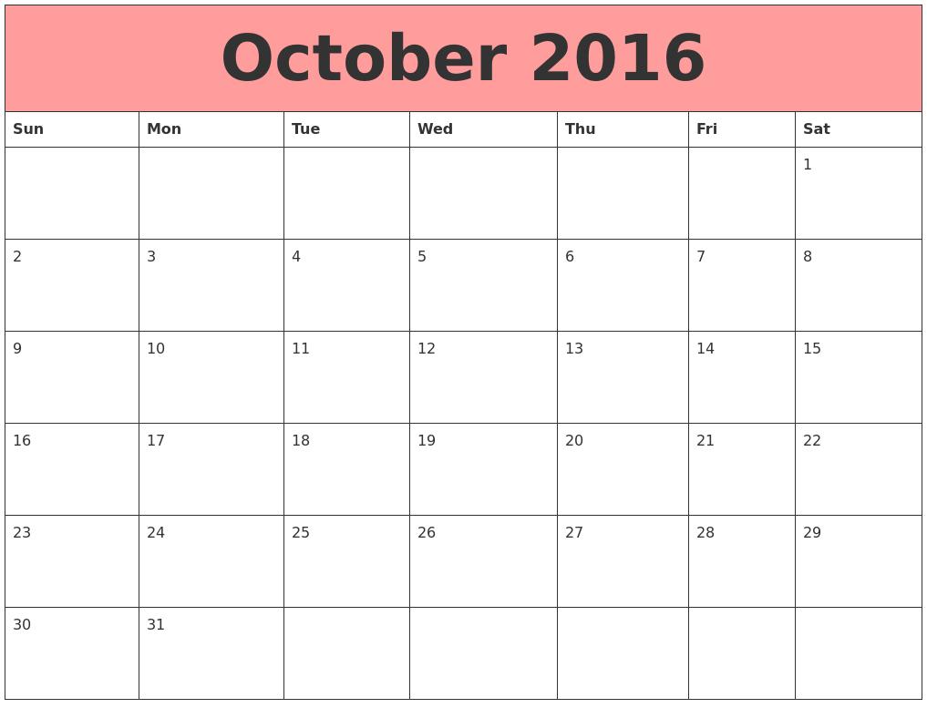 October 2016 Calendars That Work
