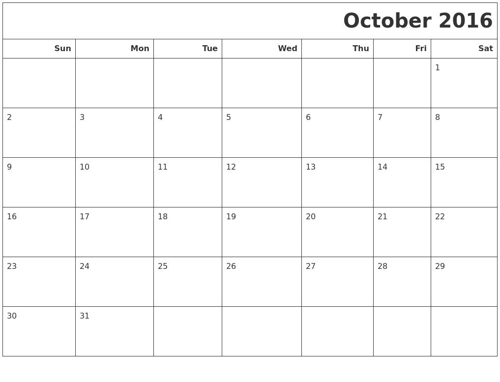 October 2016 Calendars To Print