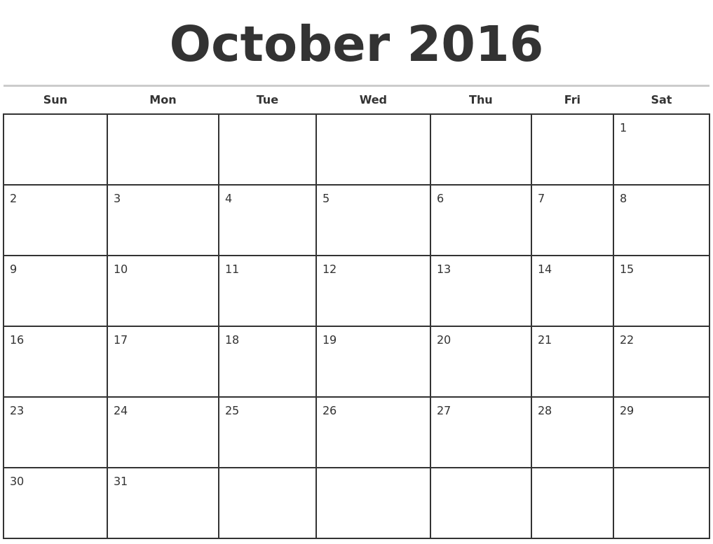blank monthly calendar October 2016 - Template - Template