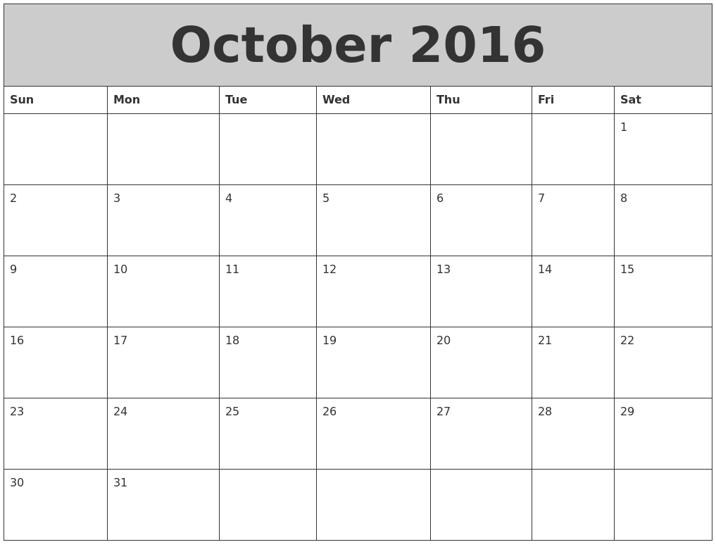 October 2016 My Calendar