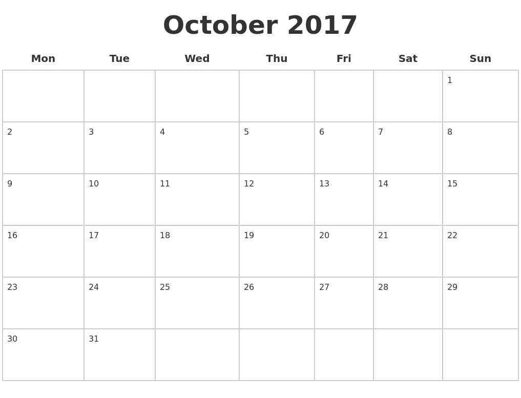 2017 Blank Calendar Pages