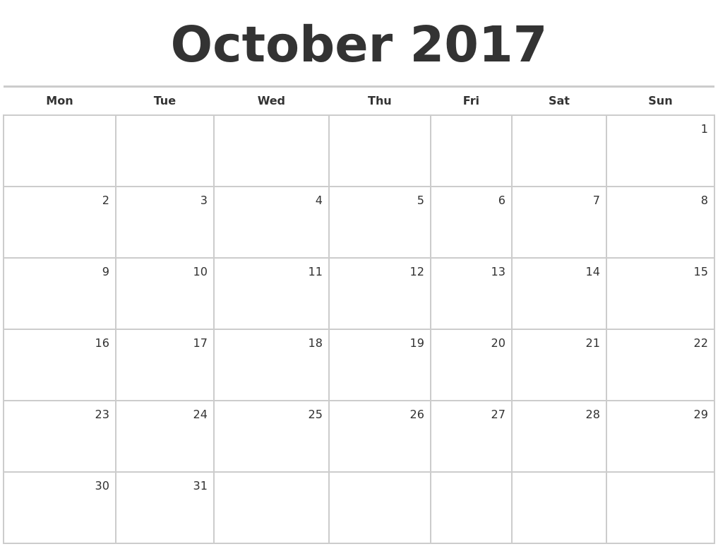 October 2017 Calendar - Your source for calendars