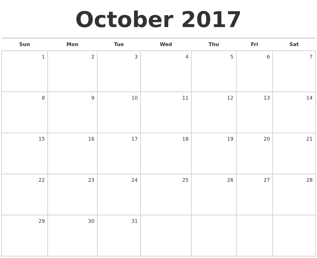 October 2017 Blank Monthly Calendar