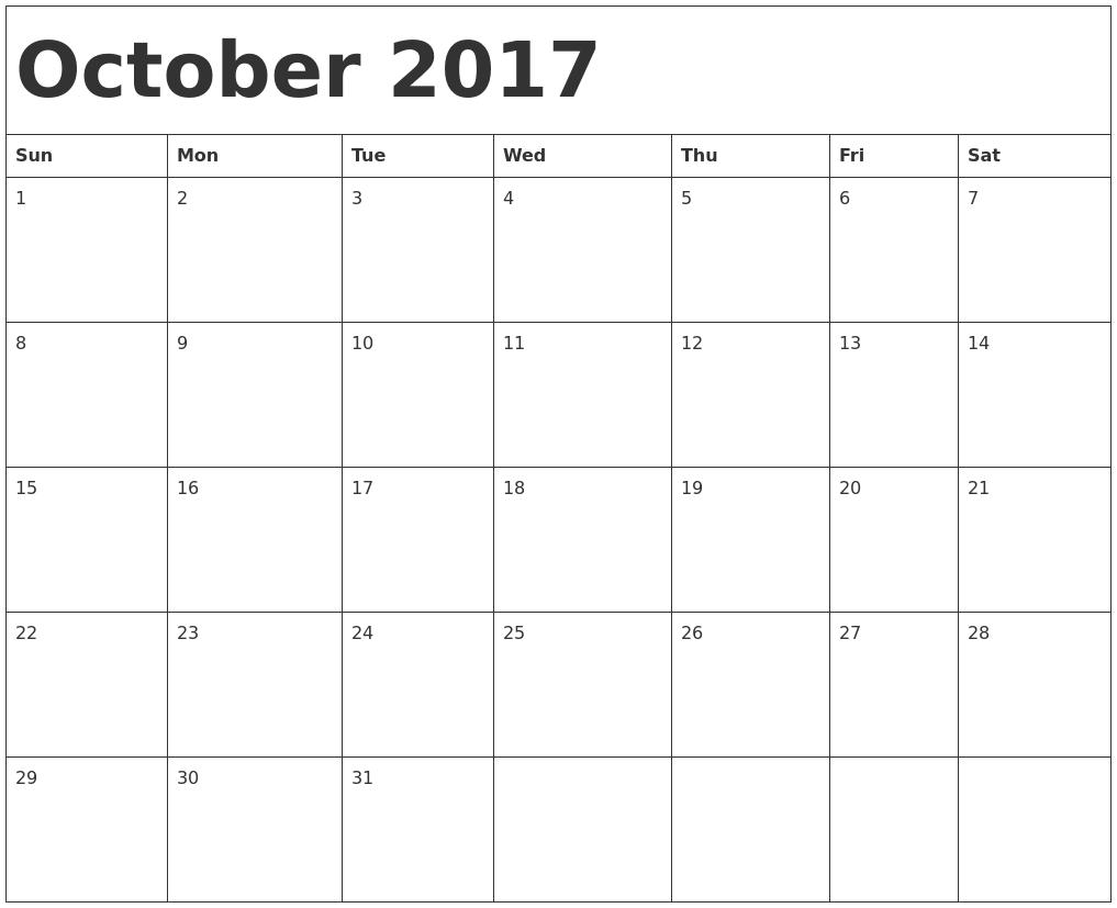 October Calendar 2017 In Word