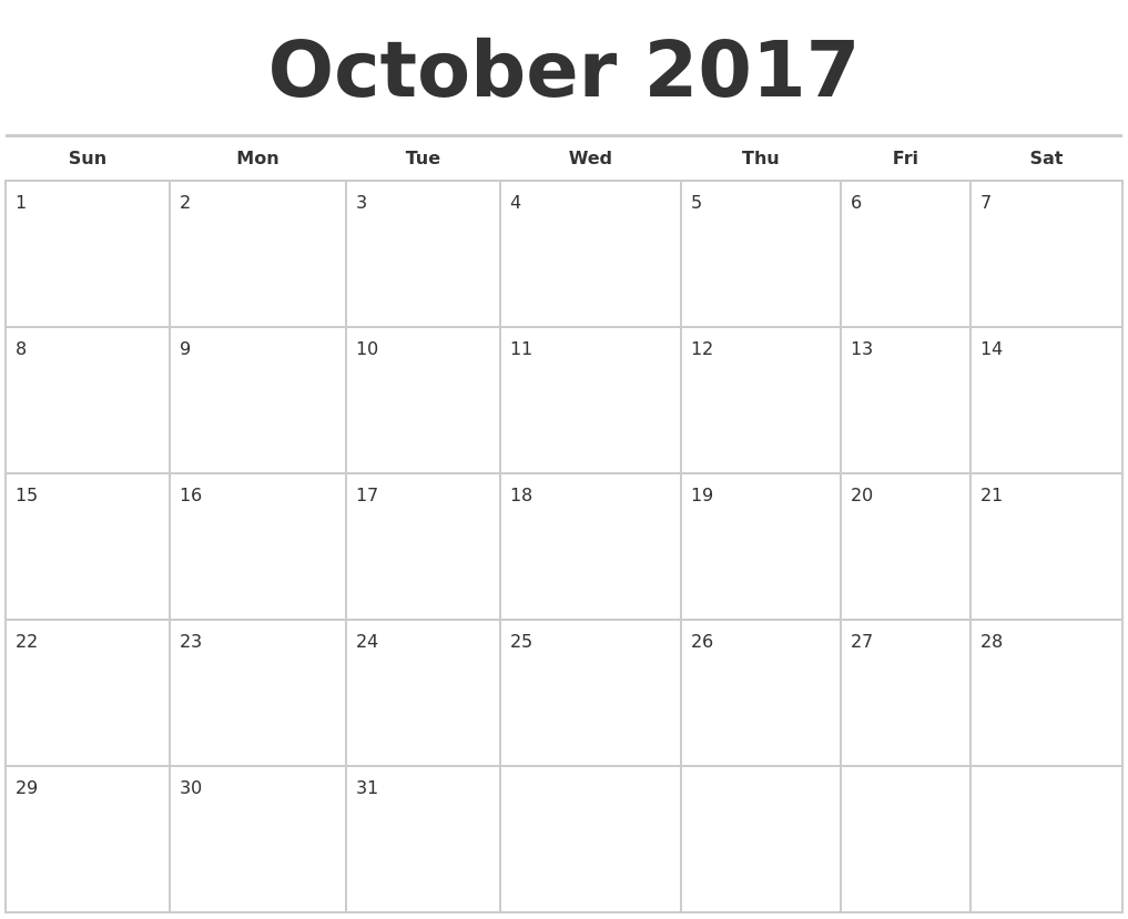 October Calendar 2017, October Calendar 2017 Printable Template