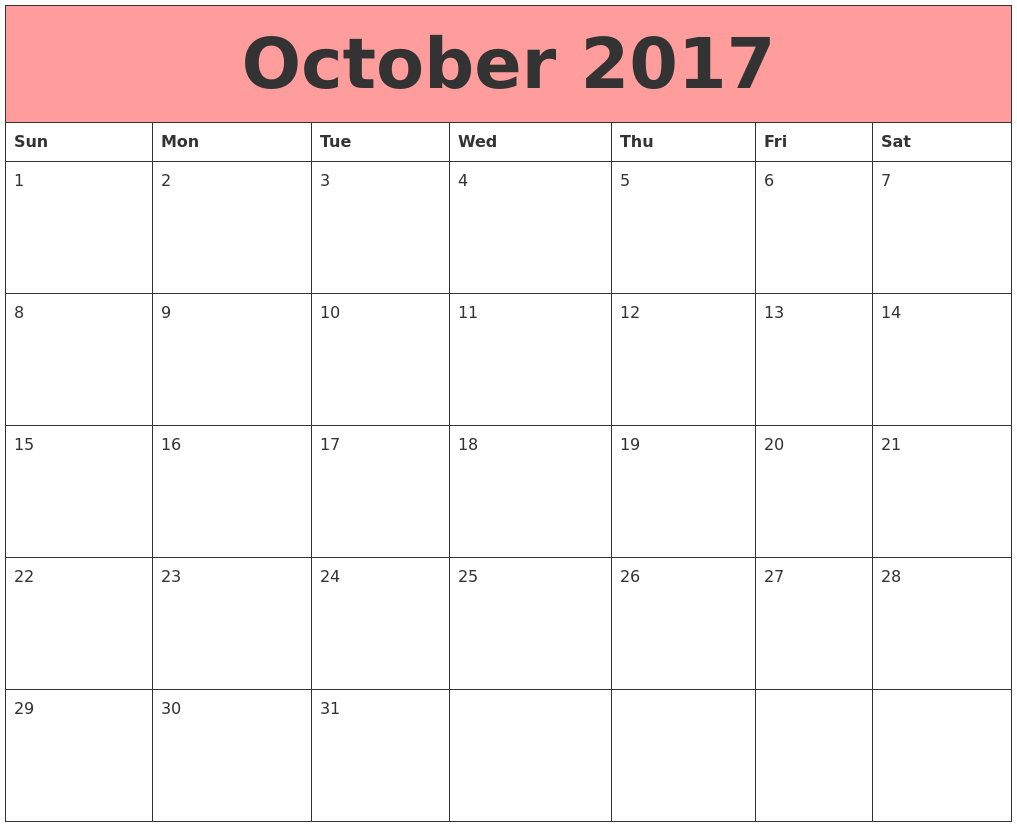 October 2017 Calendars That Work