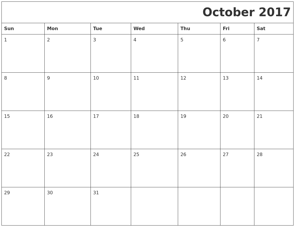 October 2017 Download Calendar