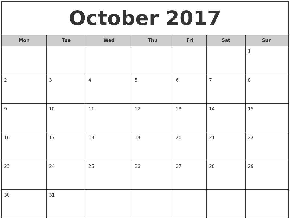 October 2017 Free Monthly Calendar