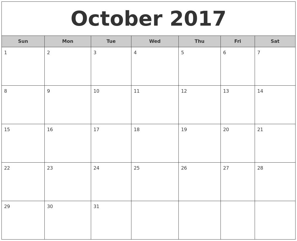 October 2017 Calendar Printable