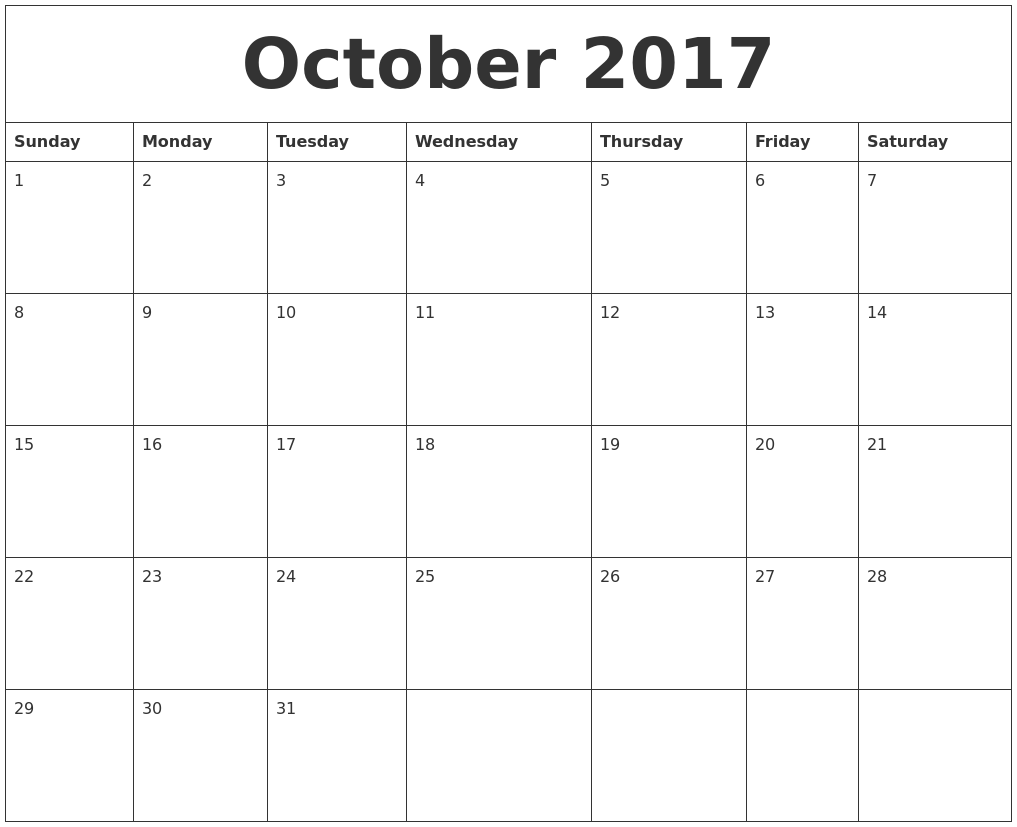 October 2017 Free Printable Monthly Calendar PDF's