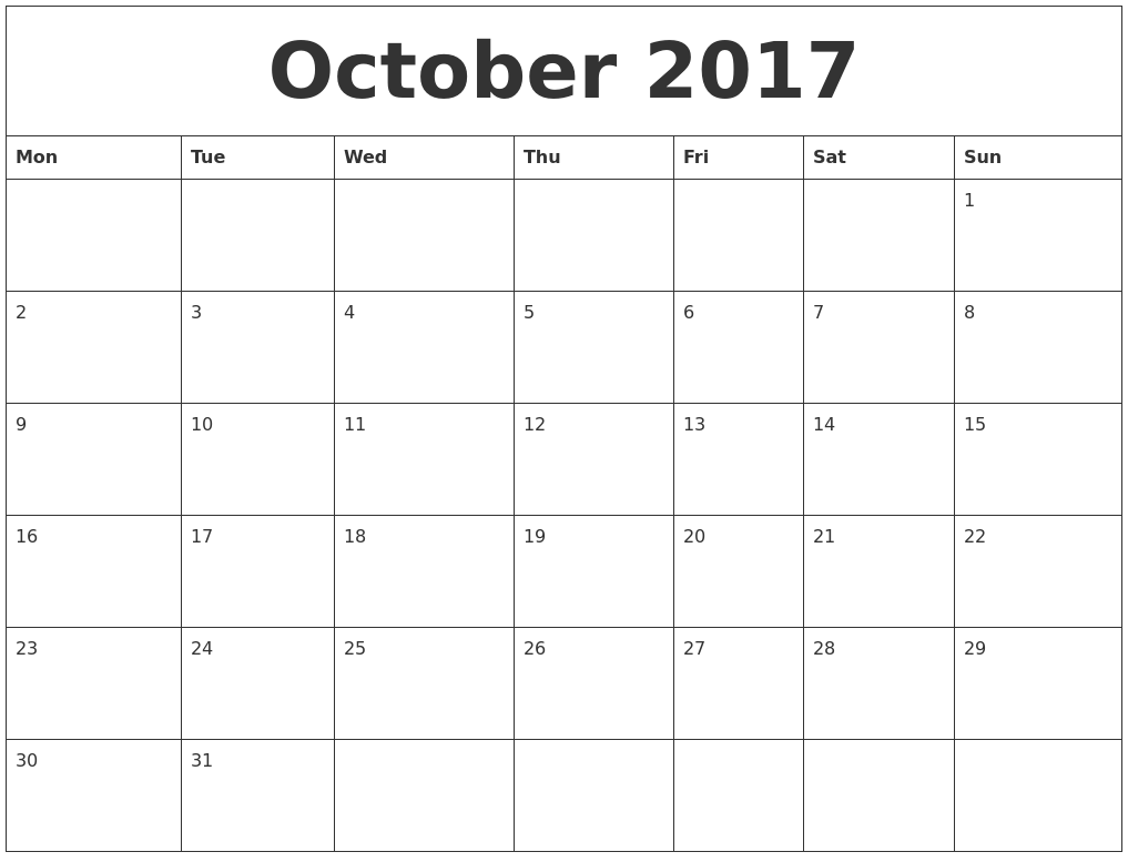Calendar Monthly Free Print : October free printable monthly calendar