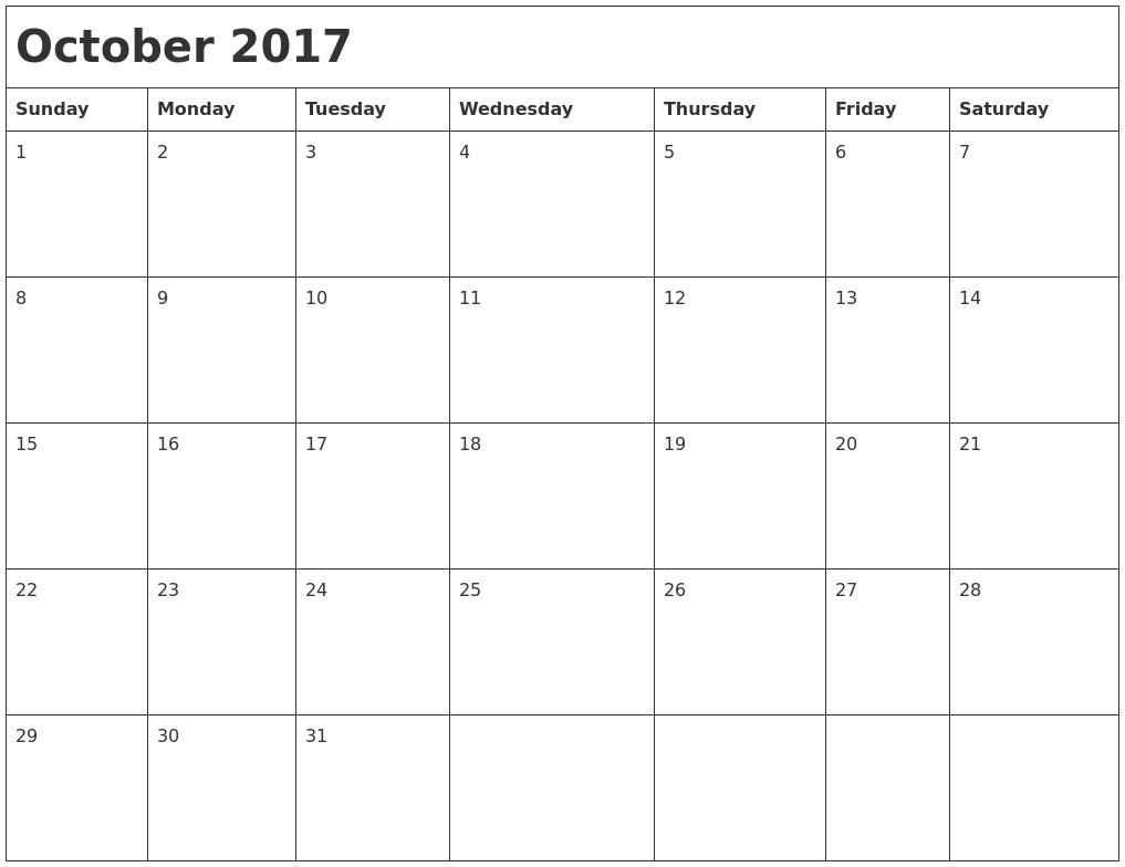 2017 Month Calendar