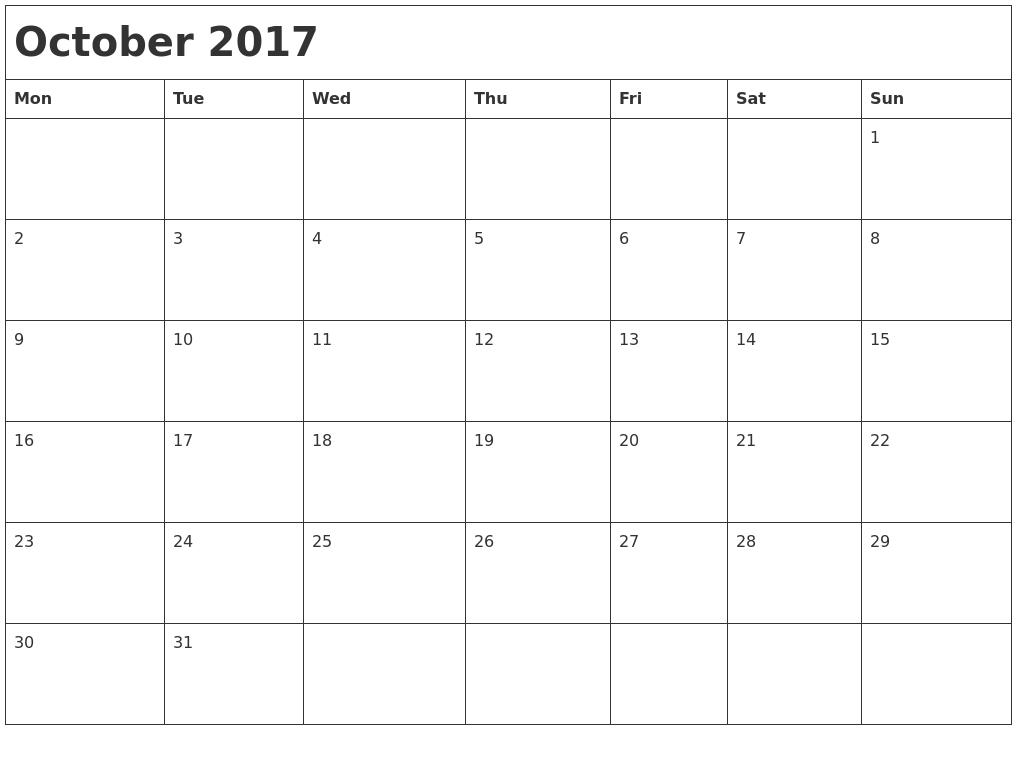 Monthly Calendar Monday Start : October month calendar