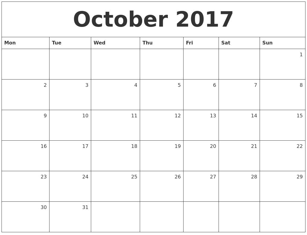 October Calendar 2017 : October monthly calendar