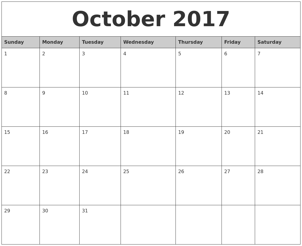 Calendar 2017 October Month – Printable Editable Blank Calendar 2017