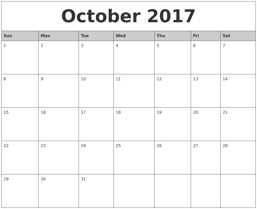 October 2017 Monthly Calendar Printable