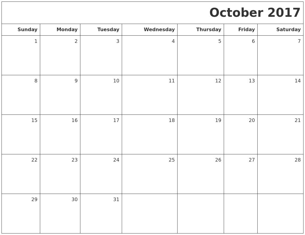 Calendar October 2017 Monday Start
