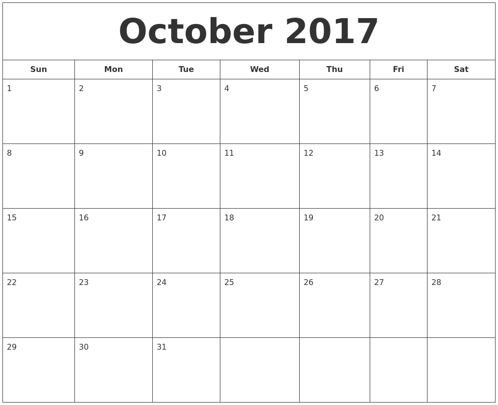 Calendar October 2017 With Festival