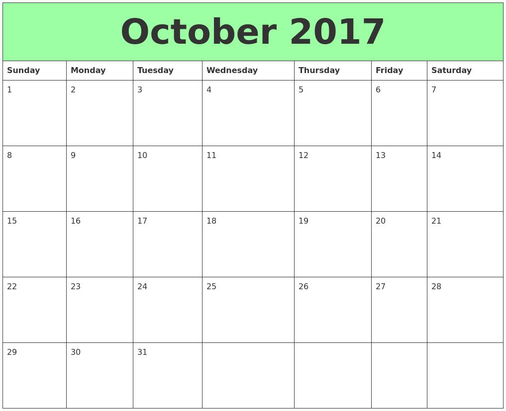 October Calendar 2017 : October printable calendars