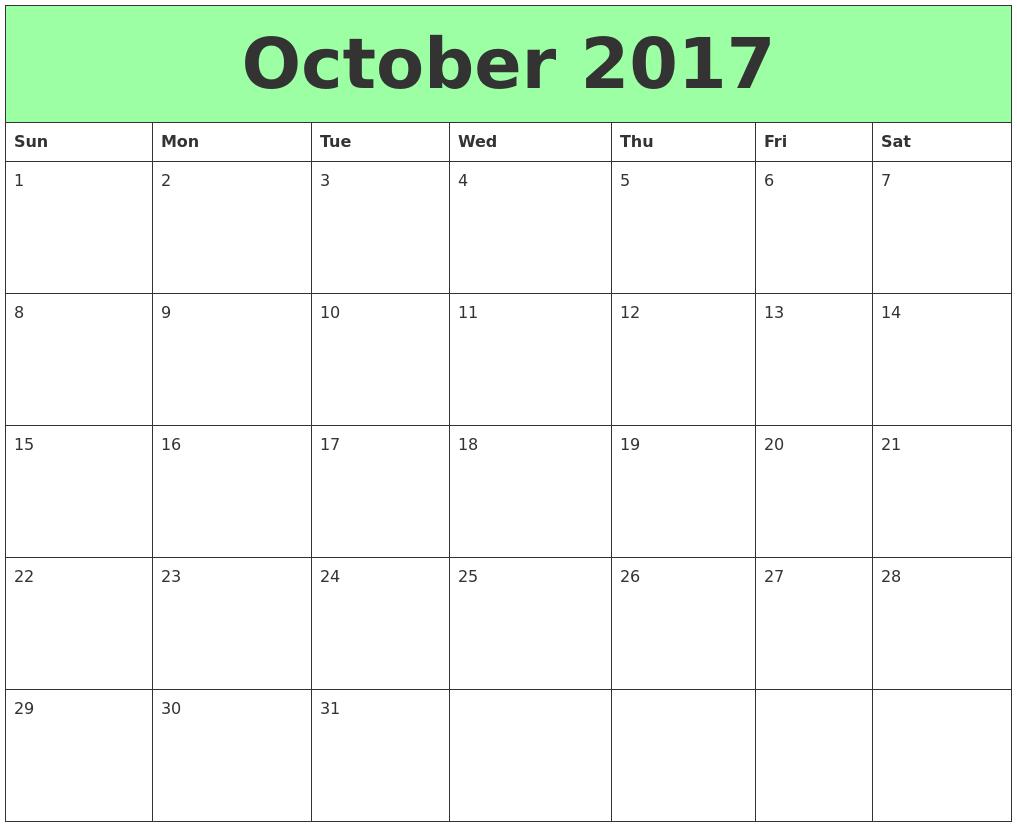 October 2017 Printable Calendars