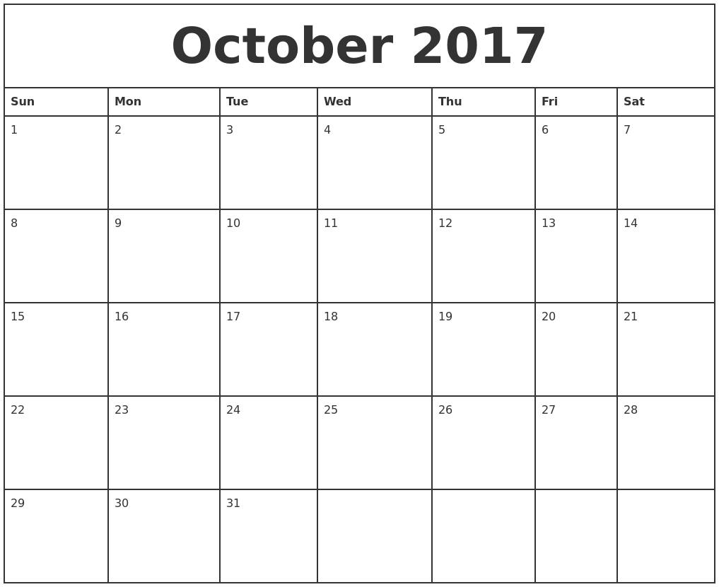 October 2017 Printable Monthly Calendar