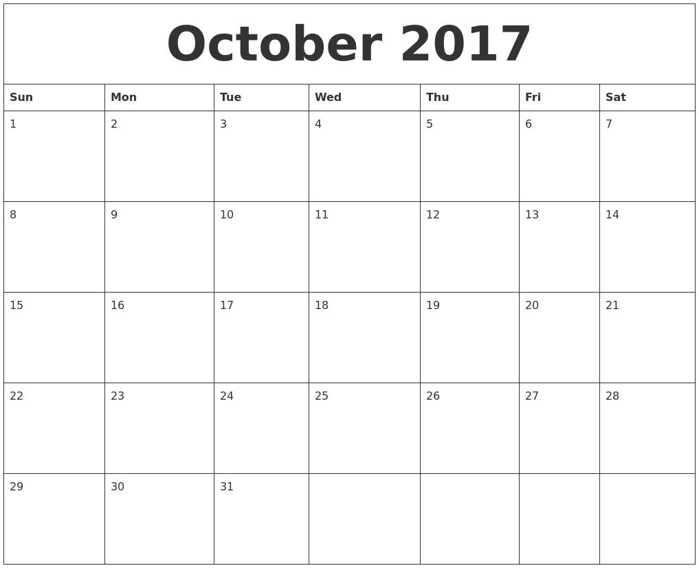 October 2017 Printable November Calendar