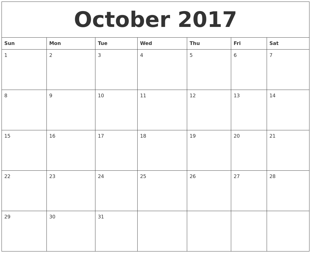 October Calendar 2017 Word Document