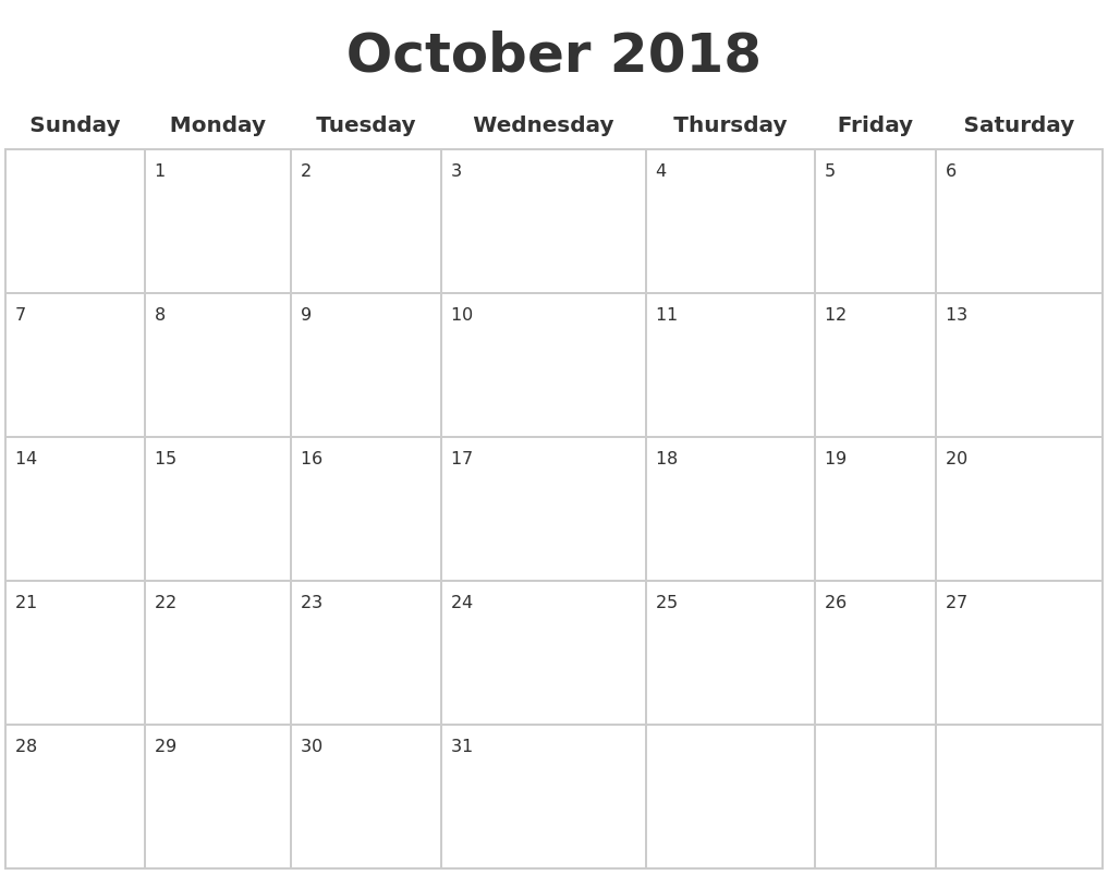 october 2018 blank calendar pages