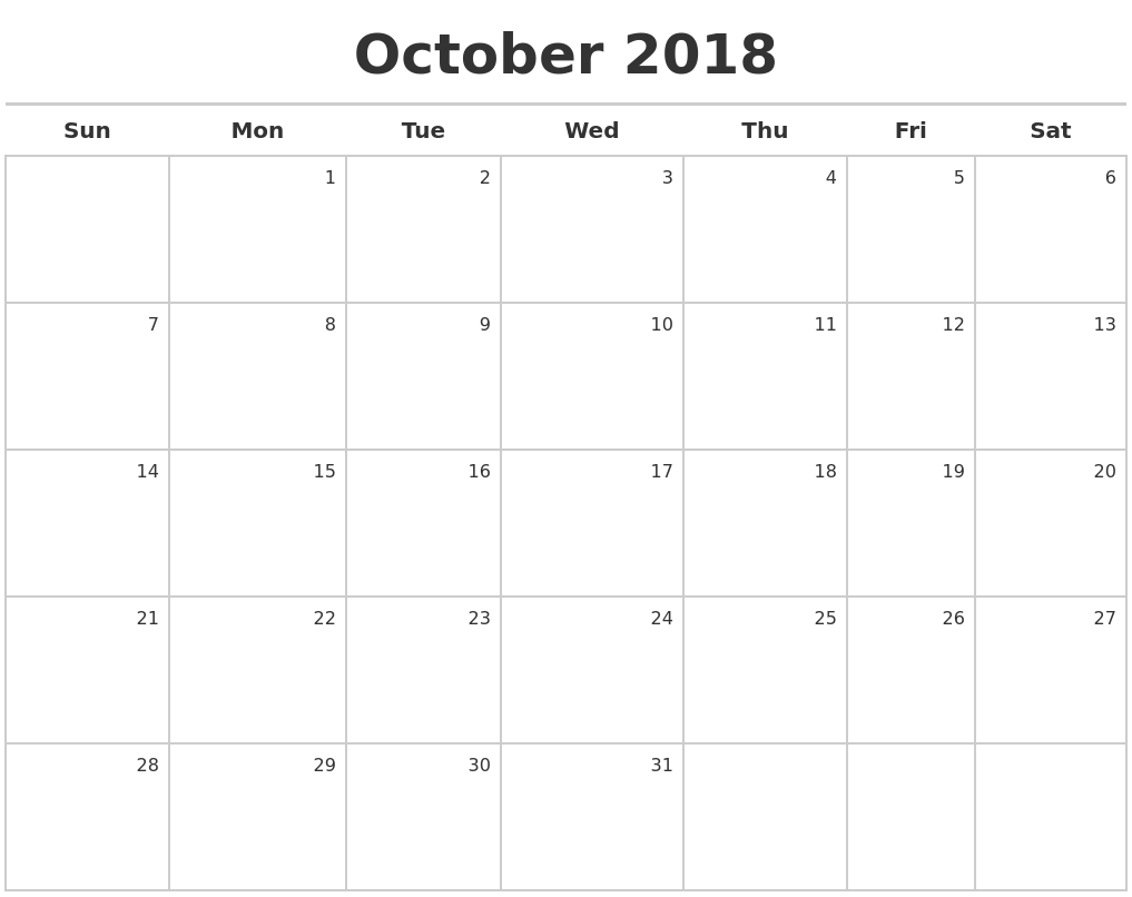 october 2018 calendar maker