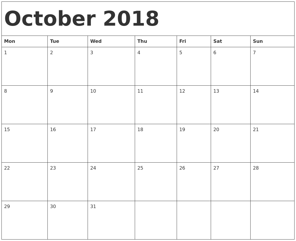October 2017 Calendar with Holidays - Canada