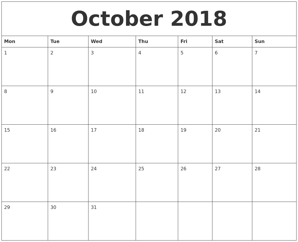 October 2018 Free Monthly Calendar Template